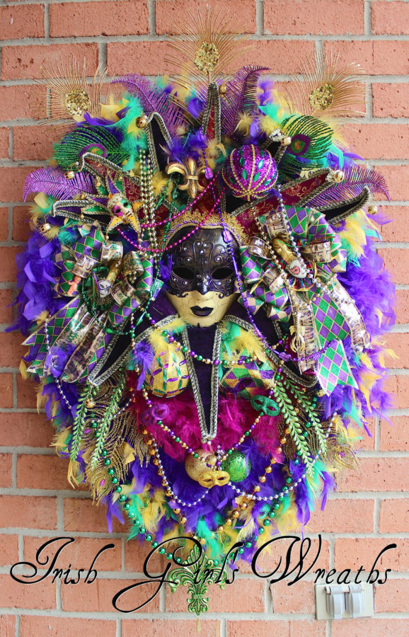 Mardi Gras Dark Purple Venetian Jester Mask Wreath HUGE, XL Masquerade Wreath
