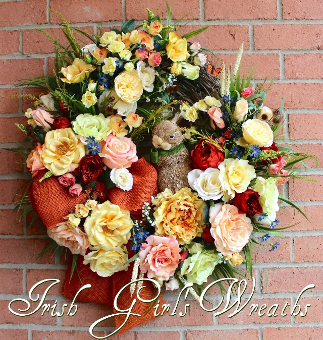 Deluxe Cottage Rose Garden Wreath for Joan