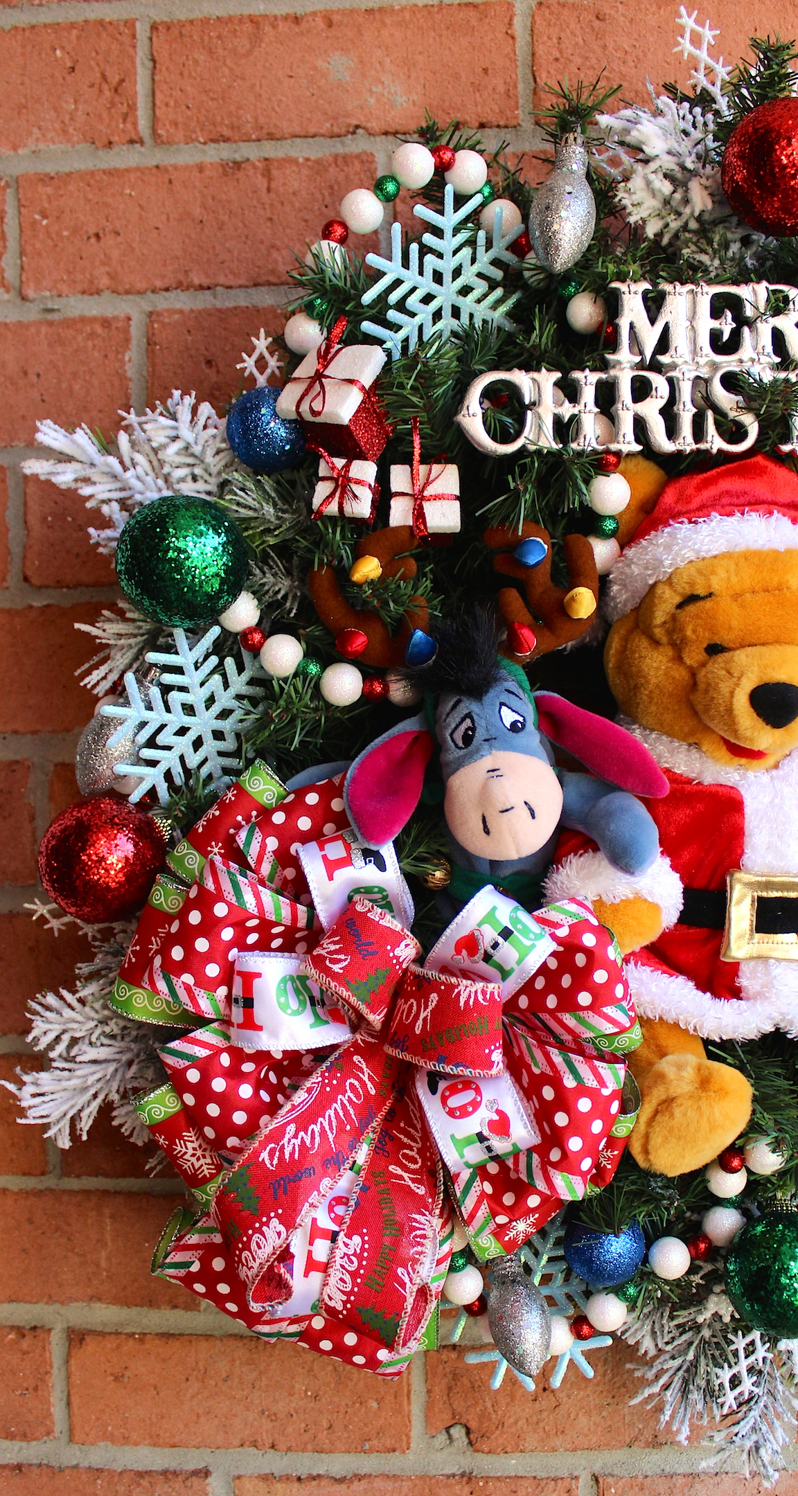 welcome christmas with this perfect 12 plush santa winnie the pooh eeyore decorated with christmas lights elf piglet and tigger with his stocking ready
