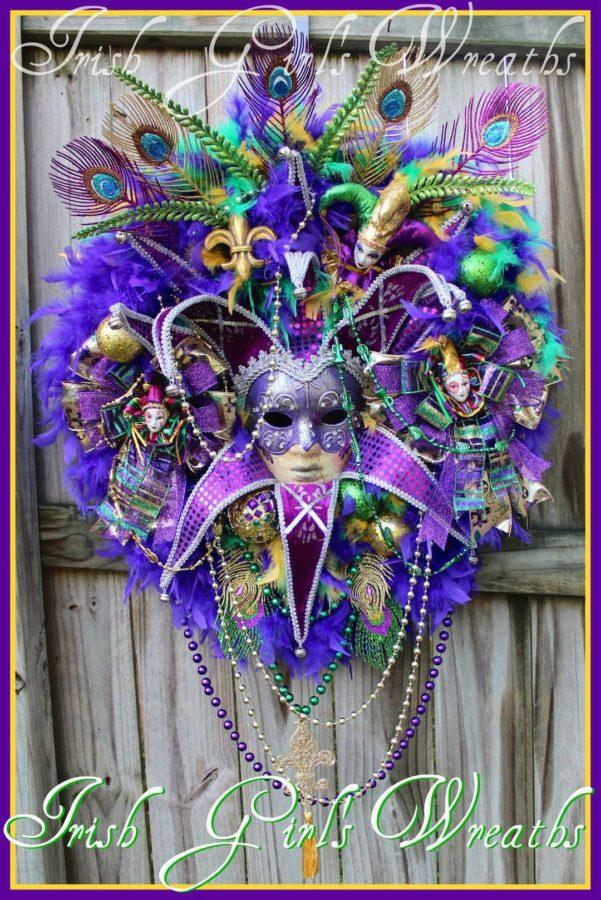 Purple and Teal Mardi Gras Wreath, Female Jester Mask Masquerade Wreath