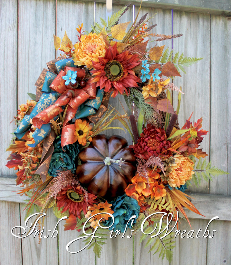 Elegant Teal Rust and Brown XL Fall Pumpkin Wreath