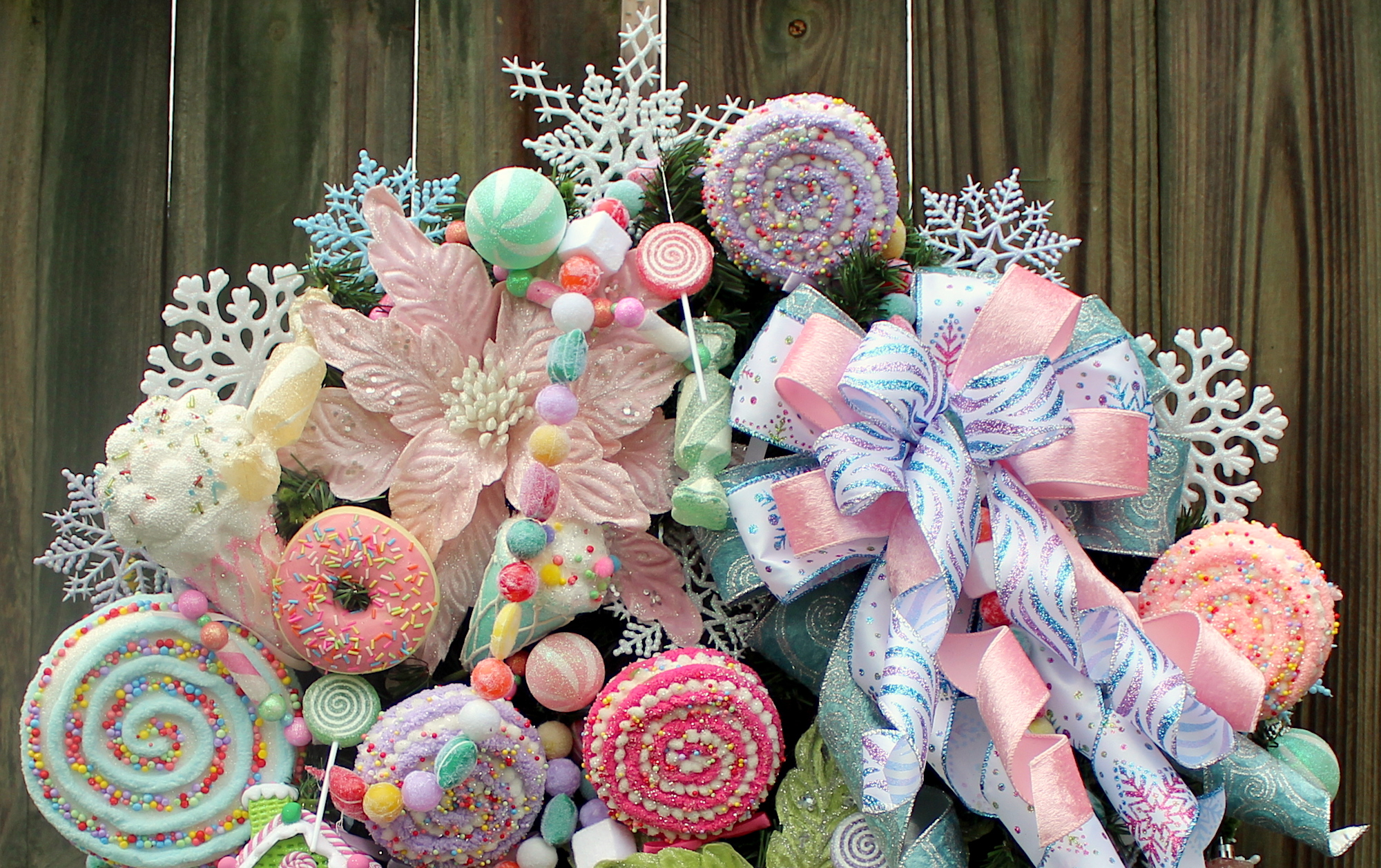 Deluxe Pastel Sweet Treat Candy Christmas Wreath Pink Christmas Lollipops Lavender Christmas Light Blue Christmas Candy Garland
