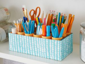 wrapping paper desk caddy