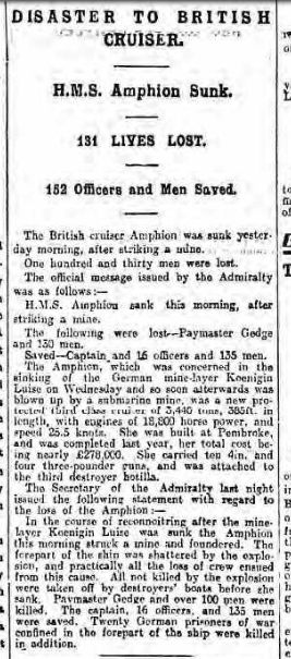 HMS Amphion, Newsletter 7 Aug 1914