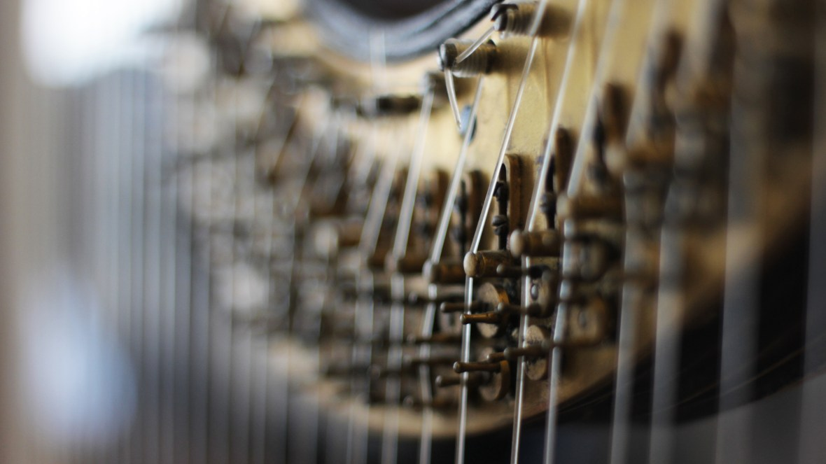 Close up of concert grand harp with strings