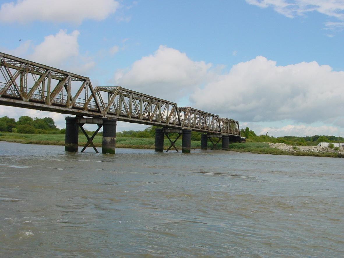 The eastern end of the railway bridge