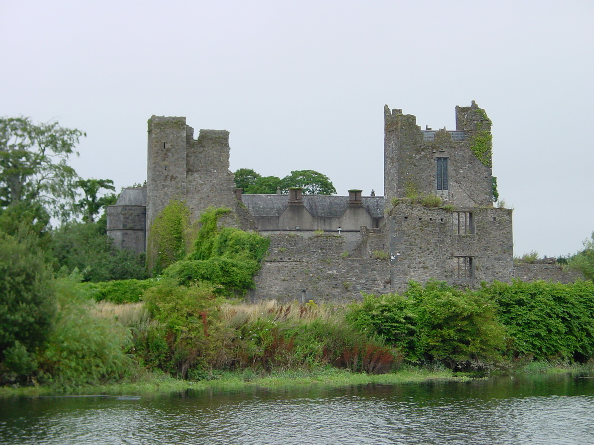 Ormond Castle on the left below the town