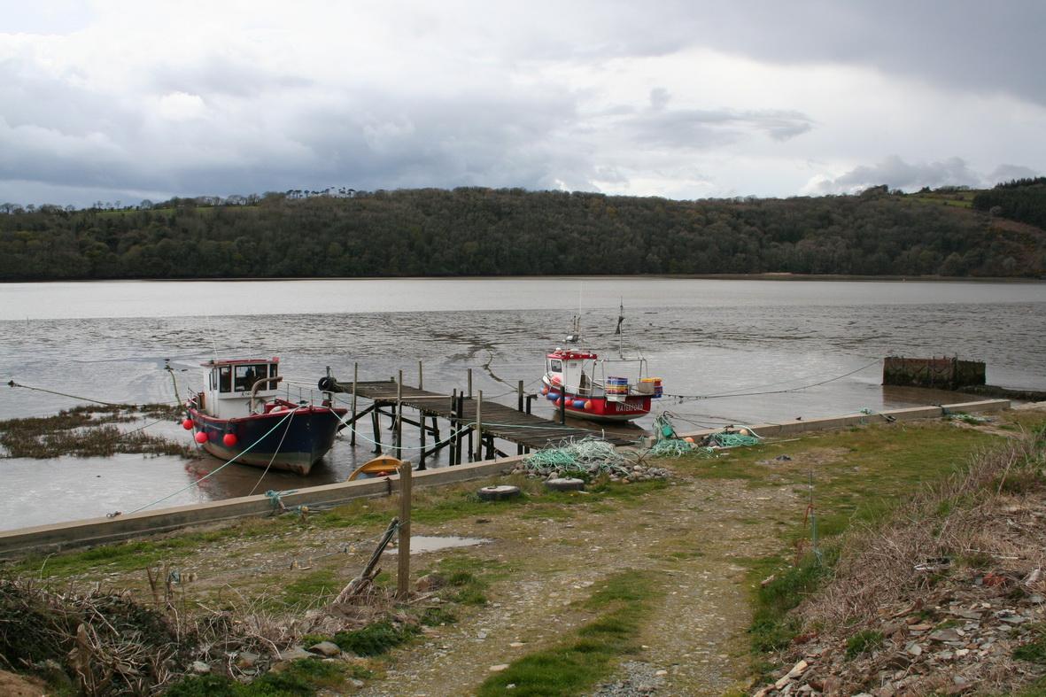 Fishing-boats on the east bank a little way above Barrow bridge