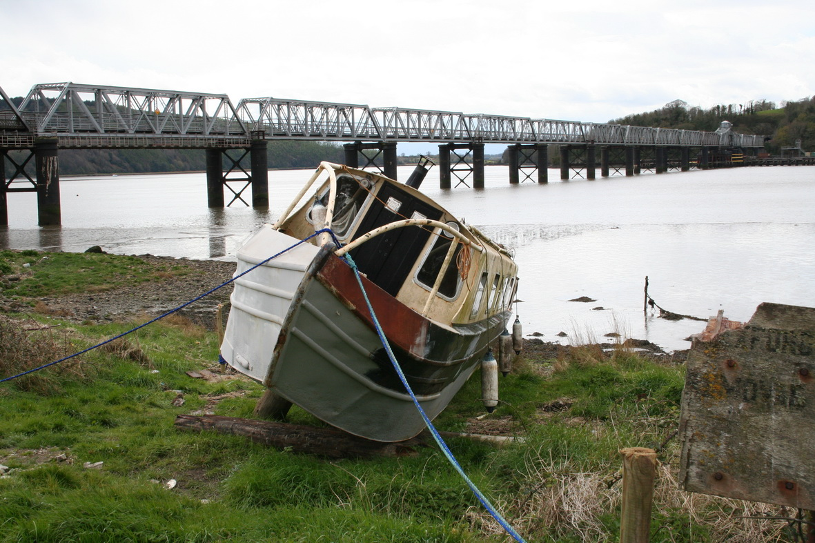 Narrowboat being painted above Barrow Bridge