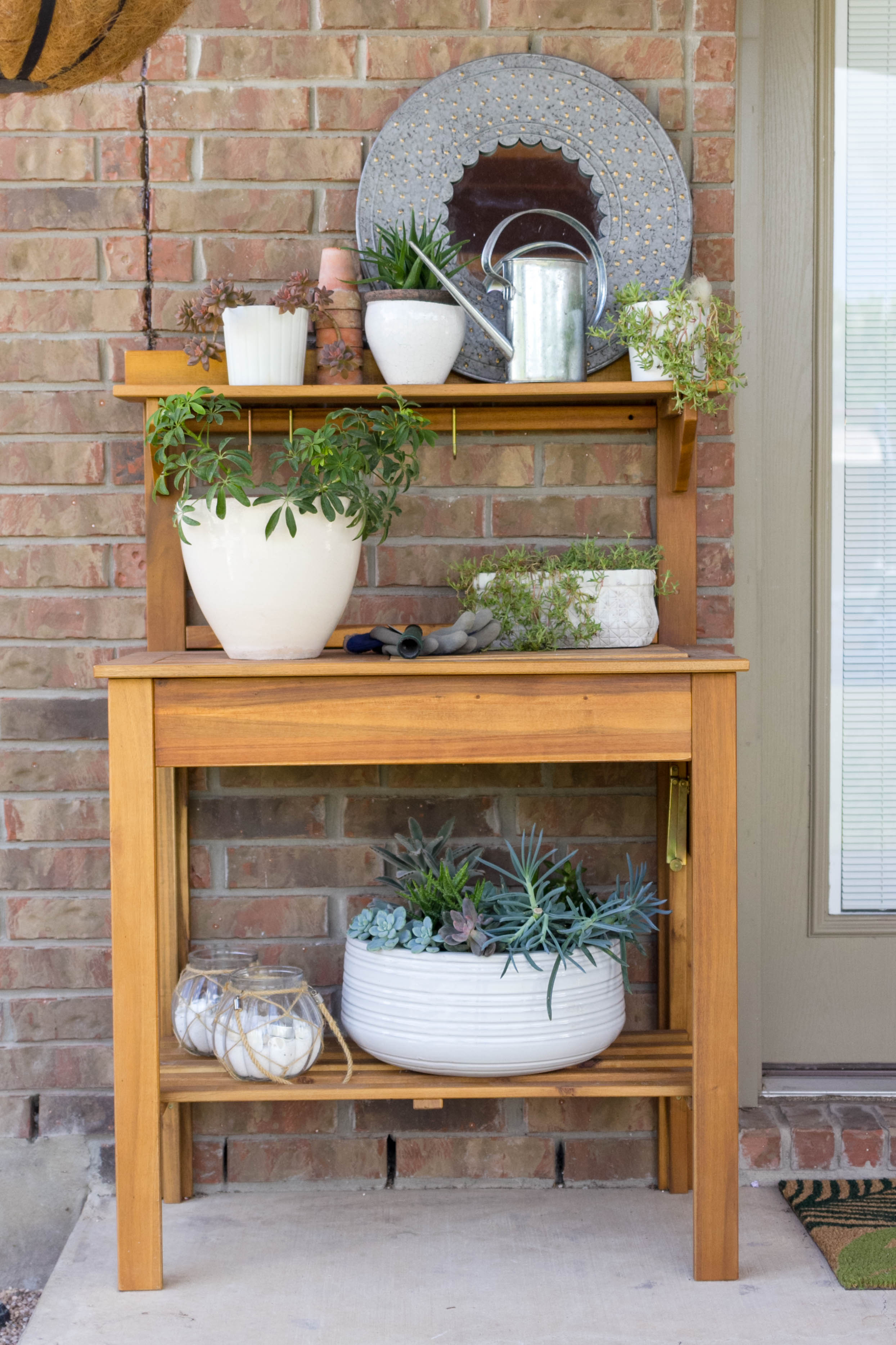 World Market Potting Bench on Patio