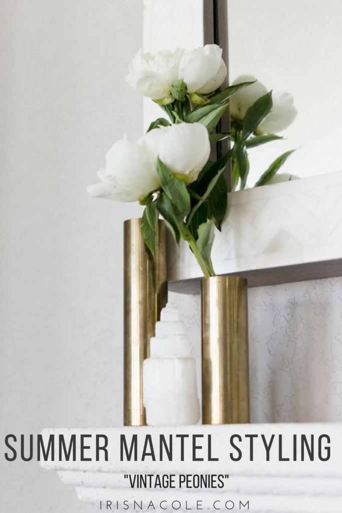 Simple Mantel Styling Vintage Peonies by Iris Nacole