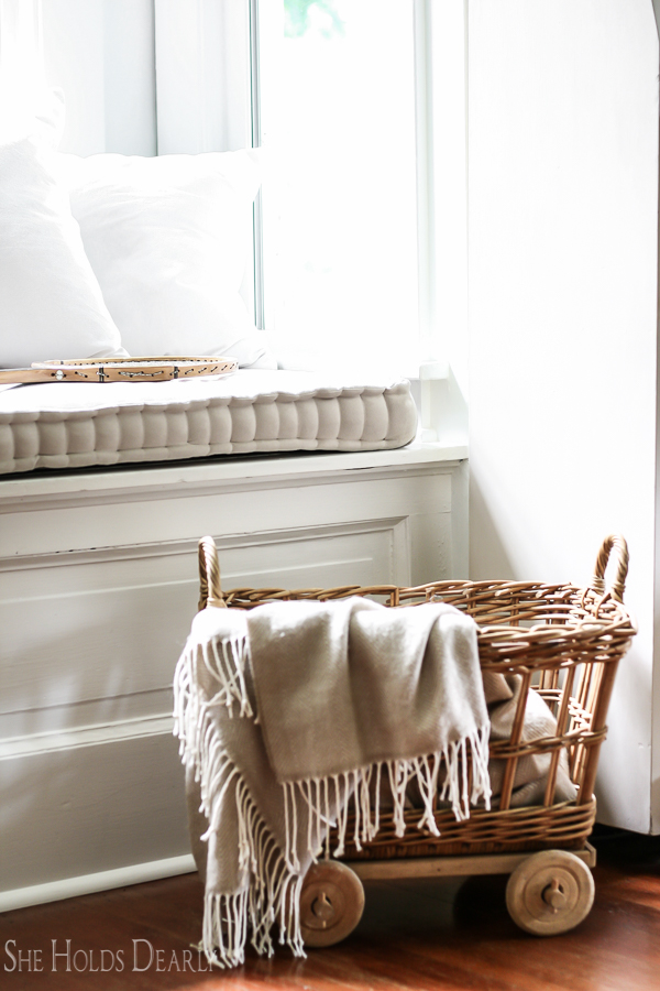 She Holds Dearly-French Mattress Cushion Tutorial on The Creative Circle Link Party