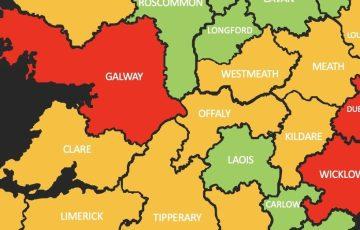 Mapa zarażeń koronawirusem w Irlandii z podziałem na hrabstwa