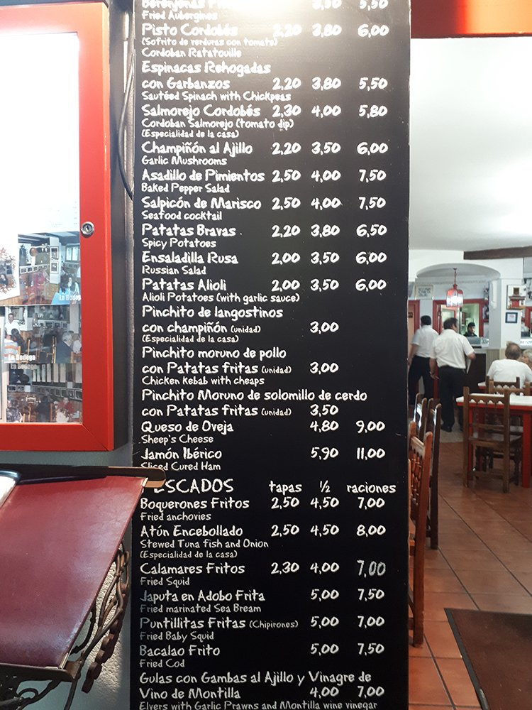 3 weeks of solo travel in Spain: 3 days in Cordoba | Taberna Rafae menu
