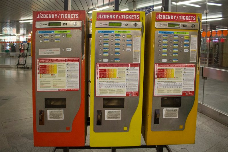 Public transport ticket vending machines in Prague