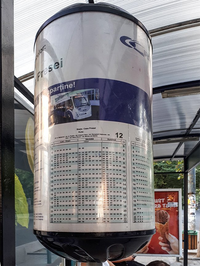 Trolleybus timetable