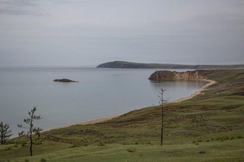 Crocodile Island and the beach at Kharantsy Cape in Olkhon Island