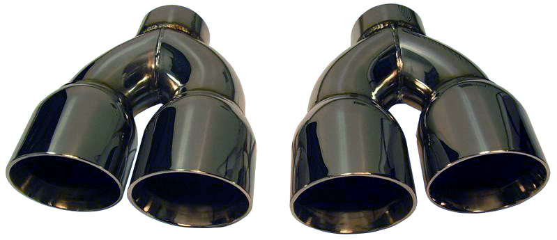 corsa clones pair of stainless steel dual exhaust tips slash cut staggered