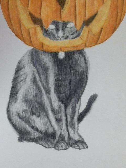 色鉛筆 ハロウィン 猫