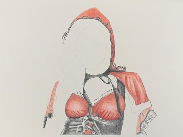 色鉛筆 赤ずきん 女の子 メイキング