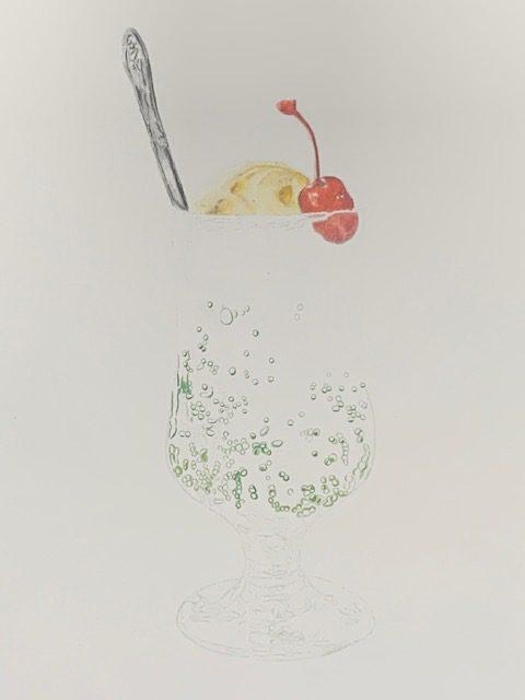 色鉛筆 メロンソーダ グラス メイキング