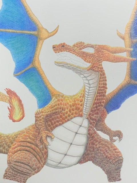 色鉛筆 リザードン ポケモン イラスト