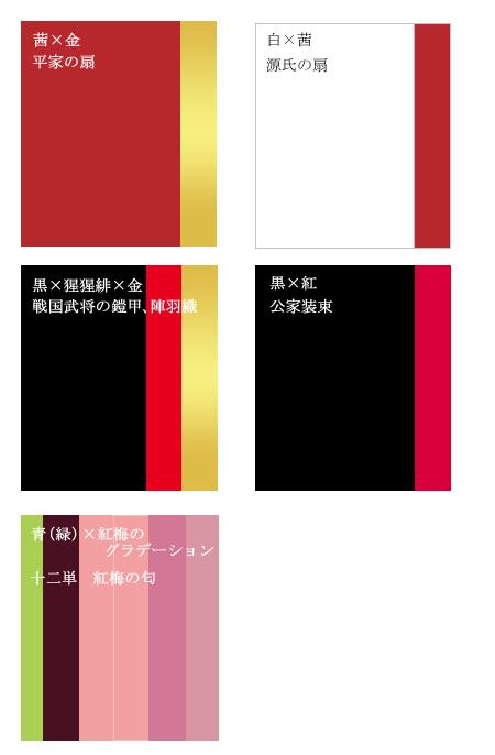 各時代に見られる赤の配色例