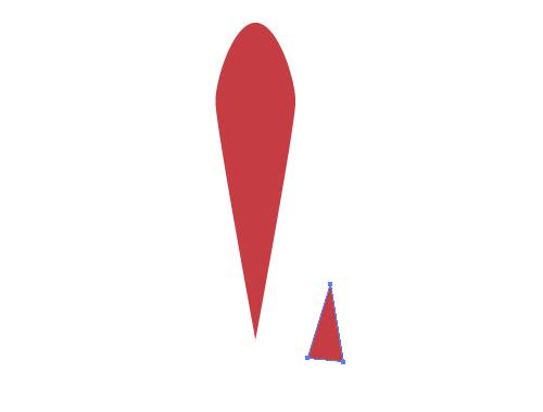 [ペンツール]で適当に三角形を描きます。