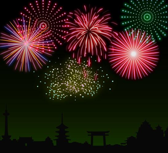 photoshopで着色した花火
