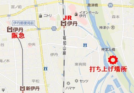 伊丹花火大会周辺地図電車