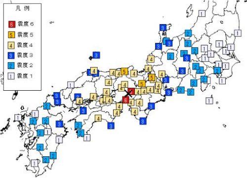 阪神・淡路大震災震度分布図