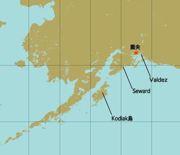 アラスカ地震震源地