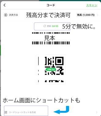 Line Payのコード画面。5分で無効になる。QRコードとバーコードが2つ表示されているのが分かる。