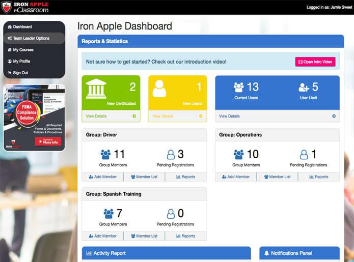 Iron Apple eClassroom - Team Leader Dashboard