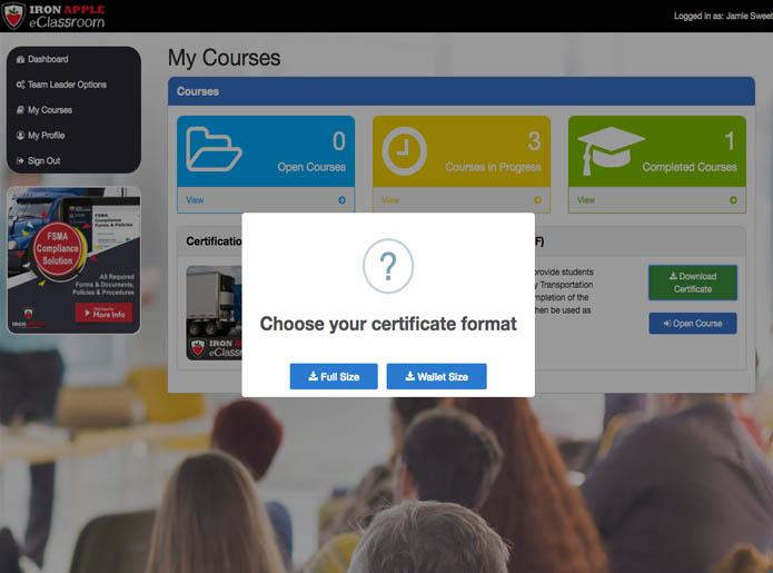 Iron Apple eClassroom - Digital Certificate Options