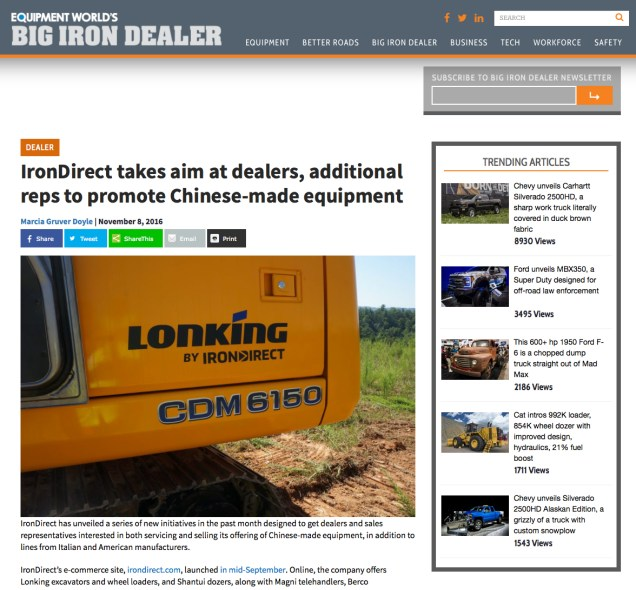 The Big Iron Dealer website made IronDirect one of its inaugural articles.