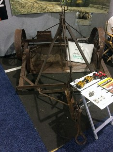 The 100-year-old pull scraper on display at the Miskin Scraper Works booth.