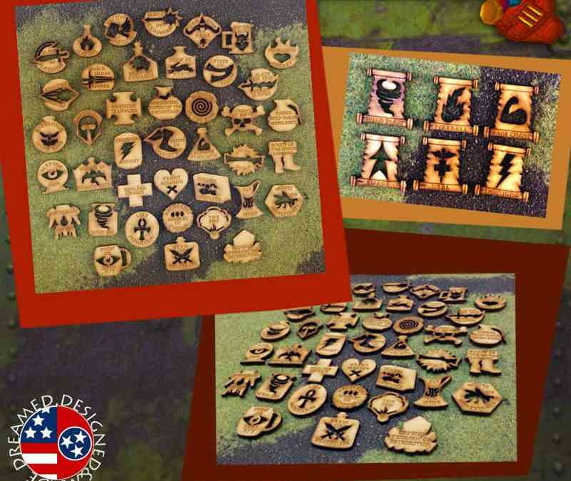 Kings of War MDF Magic Item & Spell Token Set