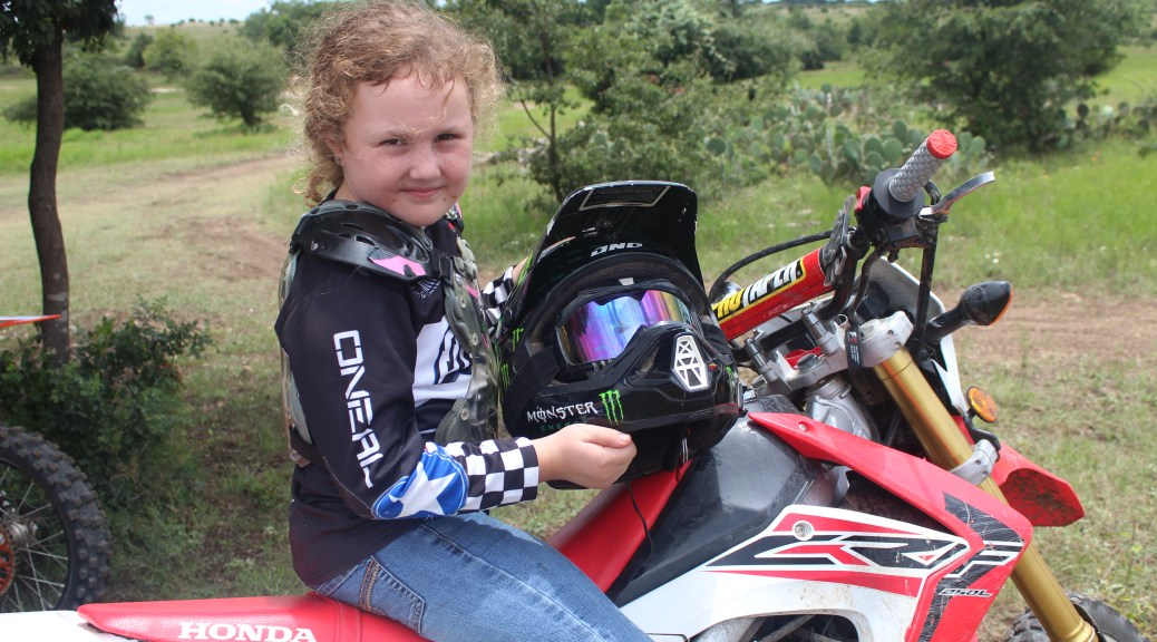 Girl motorcycle rider camper
