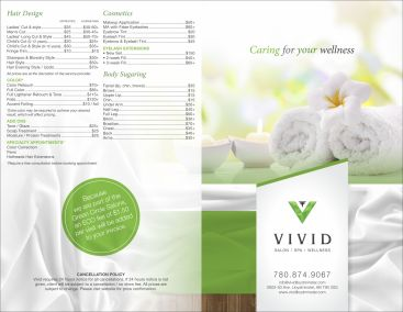 Vivid Salon Spa Wellness Menu - 1920px
