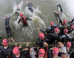 The swim start of an Ironman Triathlon