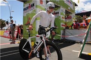 peter graves in bike transiton at Ironman Lanzarote