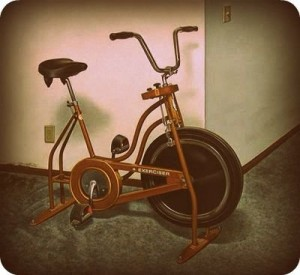 ironstruck- ironman training at home- early model of stationary bike