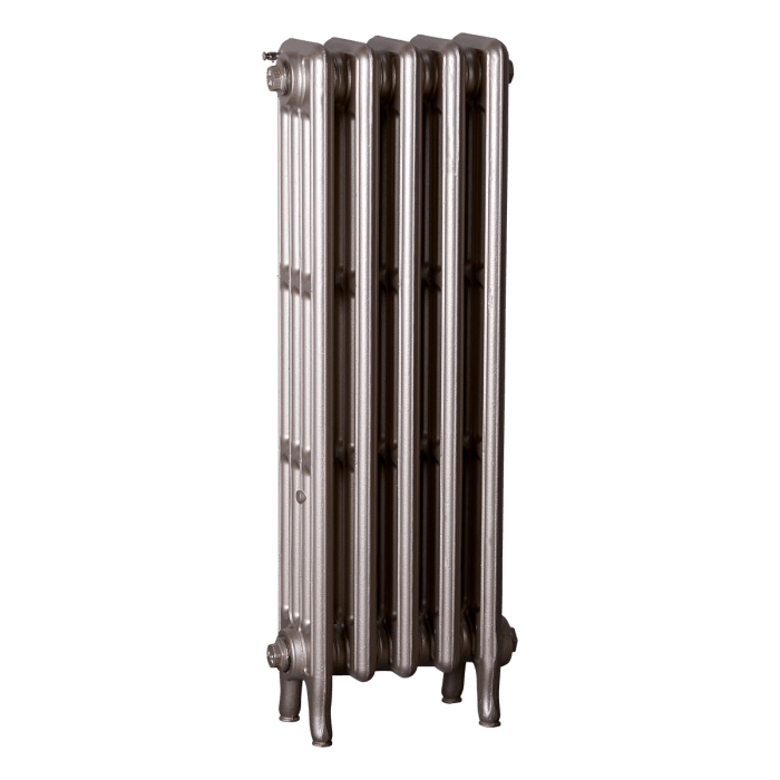 Ironworks Radiators Inc. refurbished cast iron radiator Gloucester in warm silver