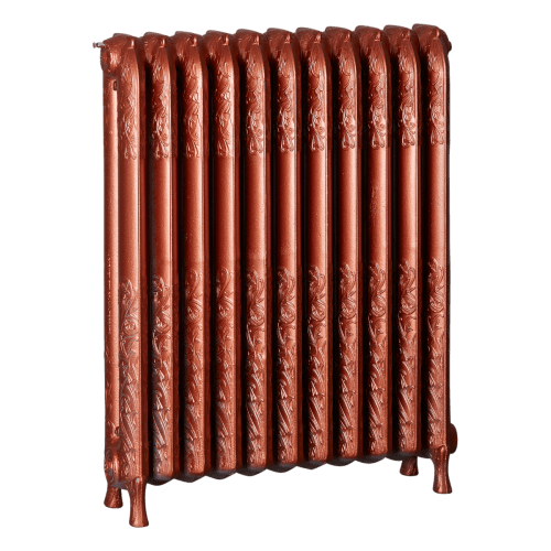 Ironworks Radiators Inc. refurbished cast iron radiator Briar Hill in Copper Metallic