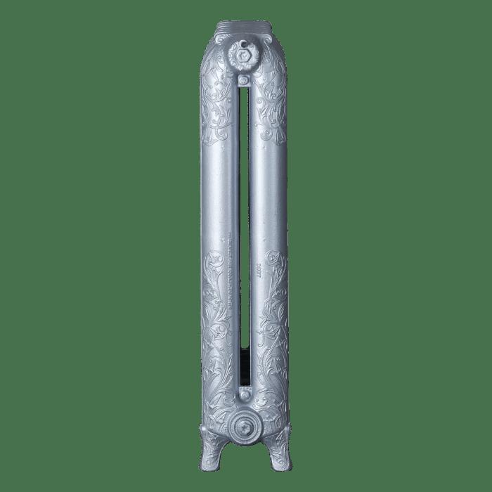 Ironworks Radiators Inc. refurbished cast iron radiator Foxhill in Platinum Metallic