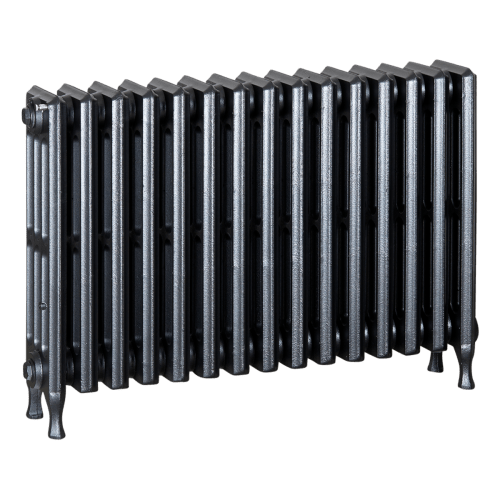 Ironworks Radiators Inc. refurbished cast iron radiator Mindenhall in Black Pearl metallic