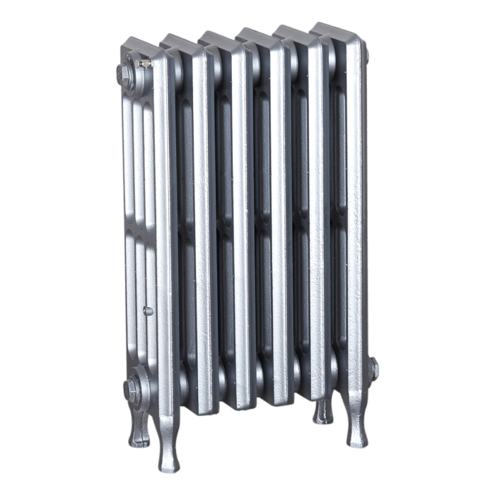 Ironworks Radiators Inc. refurbished cast iron radiator Pacific in Pewter metallic
