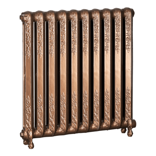 Ironworks Radiators Inc. refurbished cast iron radiator Beverly in Statuary Bronze