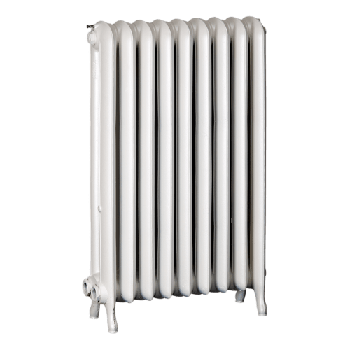 Ironworks Radiators Inc. refurbished cast iron radiator Blossomfield in Snowflake metallic